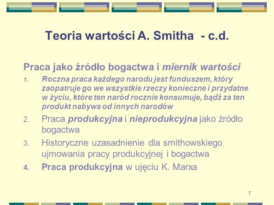 Teoria wartości A. Smitha - c.d.