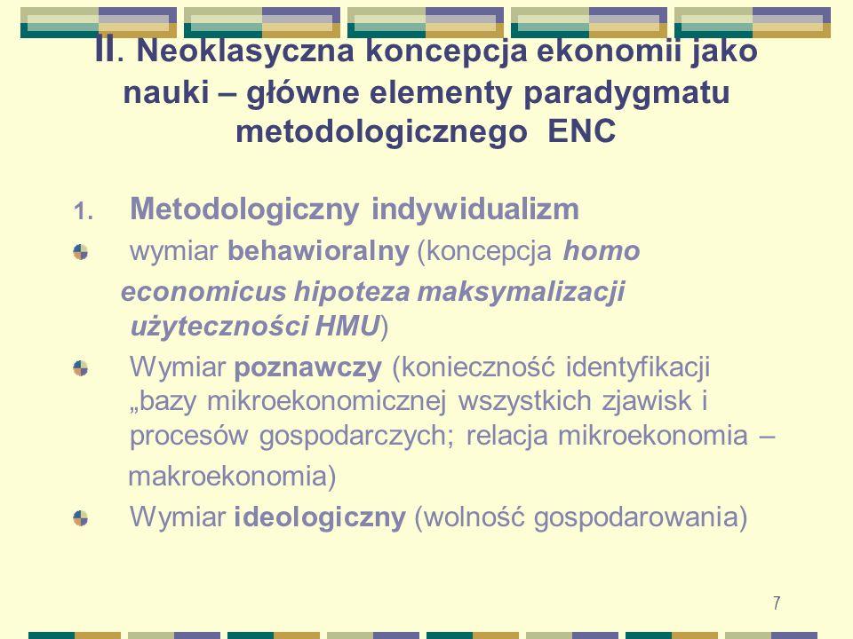 II. Neoklasyczna koncepcja ekonomii jako nauki – główne elementy paradygmatu metodologicznego ENC