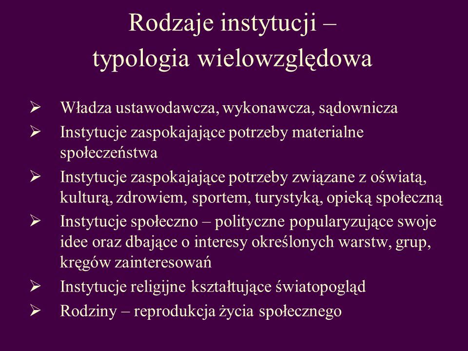Rodzaje instytucji – typologia wielowzględowa