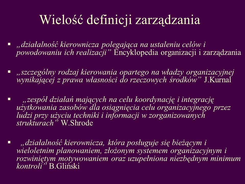 Wielość definicji zarządzania