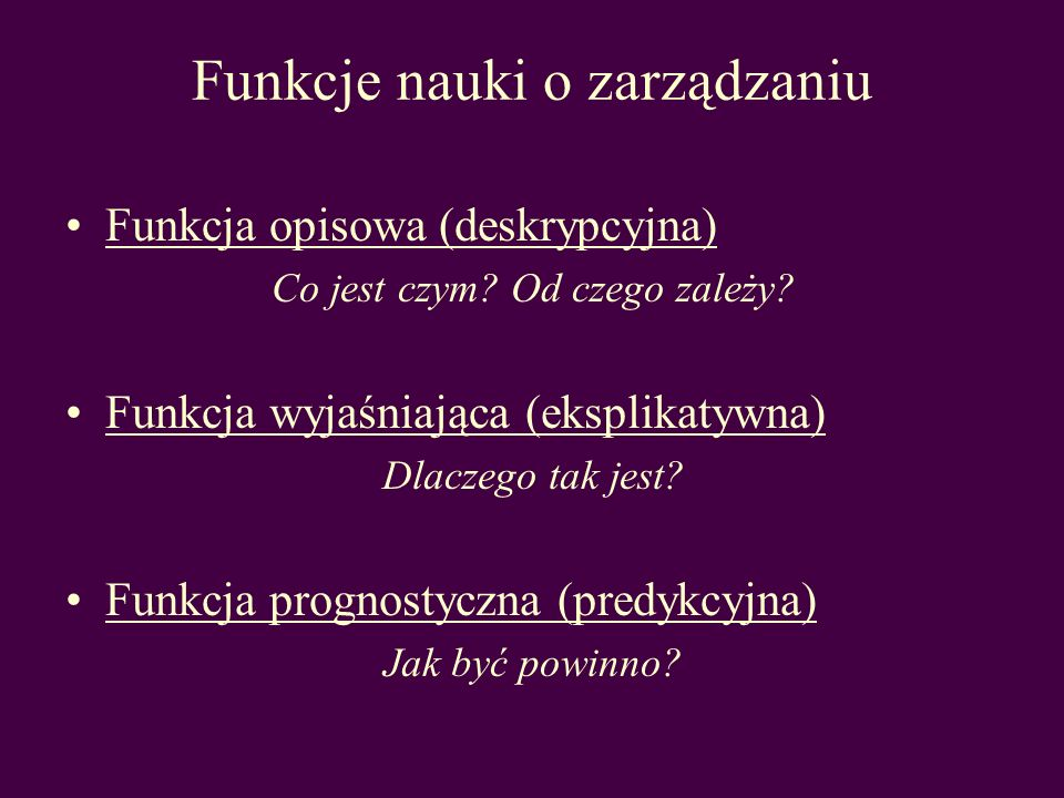 Funkcje nauki o zarządzaniu