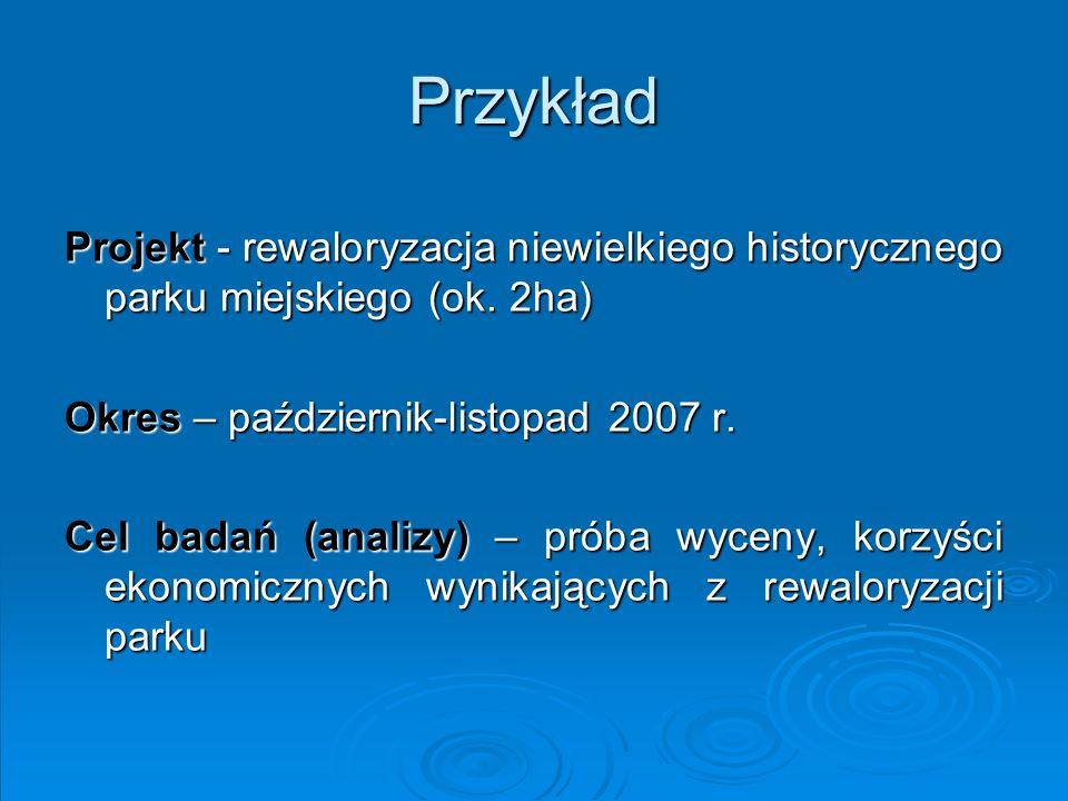 PrzykładProjekt - rewaloryzacja niewielkiego historycznego parku miejskiego (ok. 2ha) Okres – październik-listopad 2007 r.