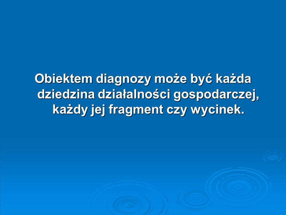 Obiektem diagnozy może być każda dziedzina działalności gospodarczej, każdy jej fragment czy wycinek.