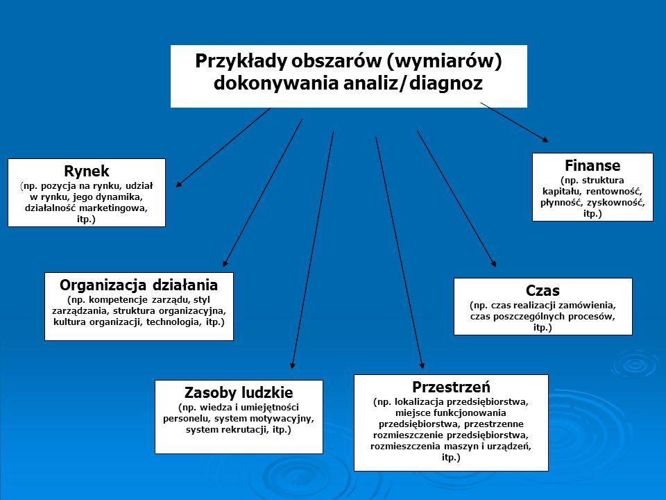 Przykłady obszarów (wymiarów) dokonywania analiz/diagnoz