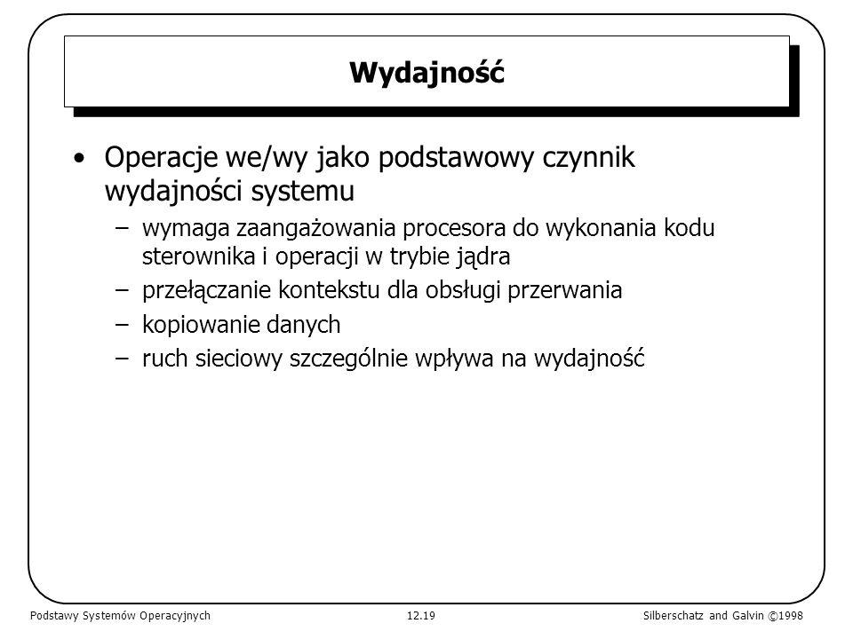 Operacje we/wy jako podstawowy czynnik wydajności systemu