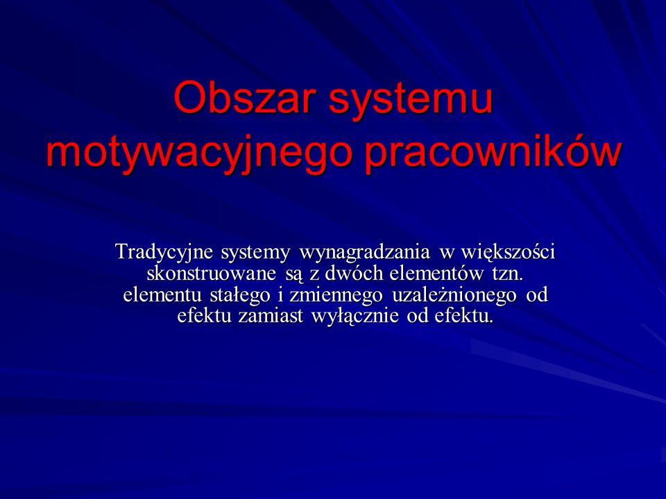 Obszar systemu motywacyjnego pracowników