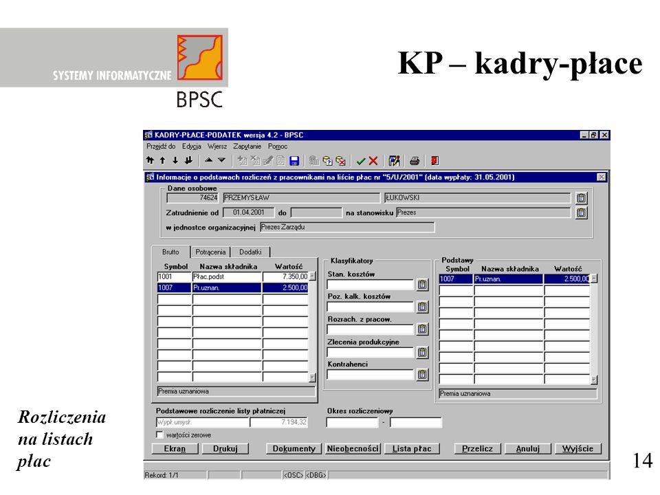 KP – kadry-płace Rozliczenia na listach płac 14