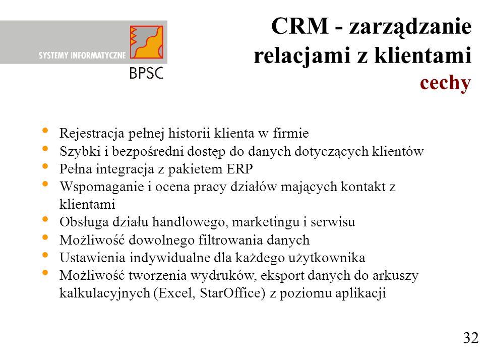 CRM - zarządzanie relacjami z klientami cechy 32
