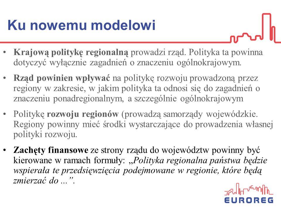 Ku nowemu modelowi Krajową politykę regionalną prowadzi rząd. Polityka ta powinna dotyczyć wyłącznie zagadnień o znaczeniu ogólnokrajowym.