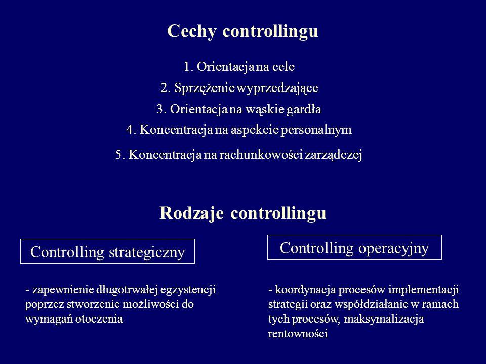 Cechy controllingu Rodzaje controllingu