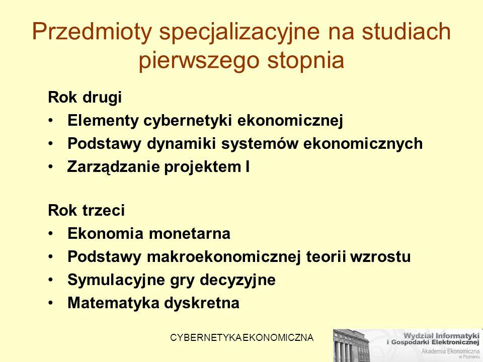 Przedmioty specjalizacyjne na studiach pierwszego stopnia