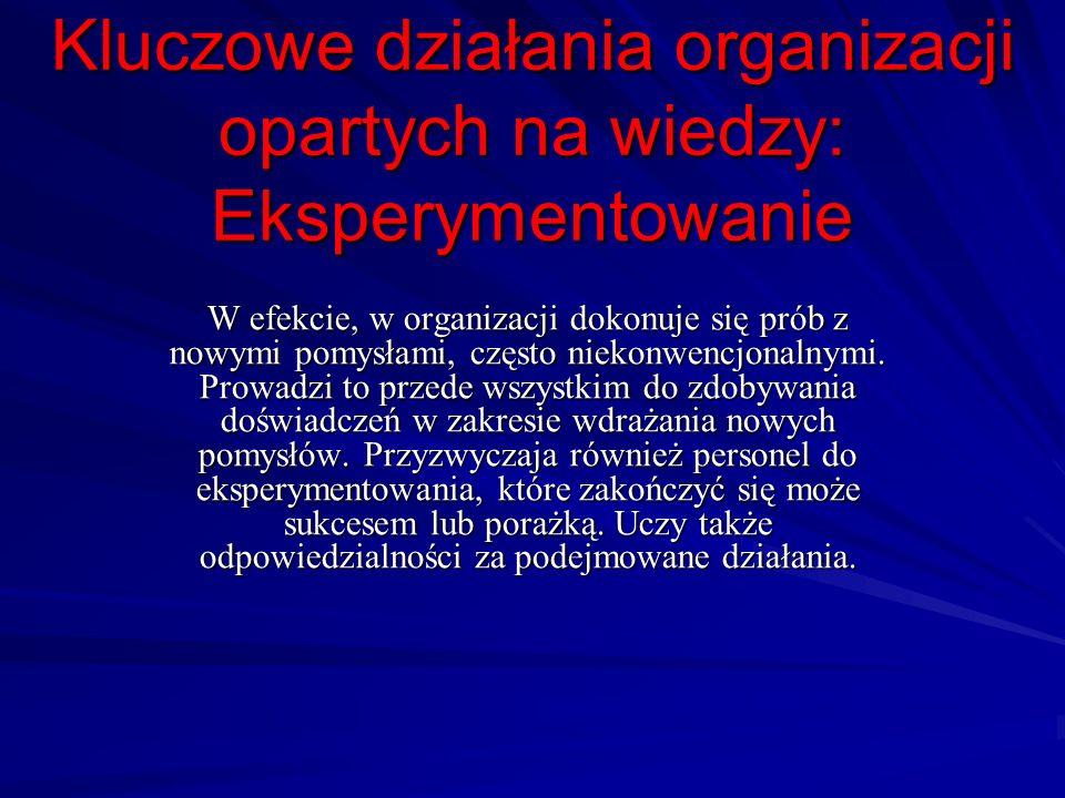 Kluczowe działania organizacji opartych na wiedzy: Eksperymentowanie