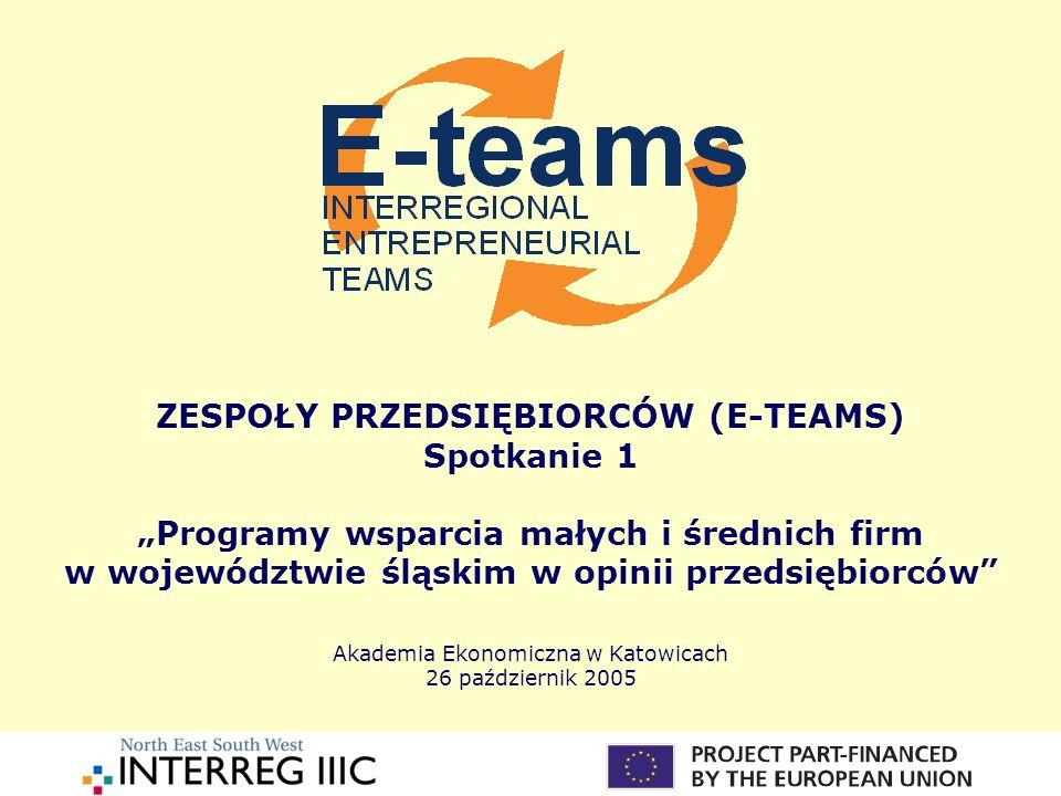 """ZESPOŁY PRZEDSIĘBIORCÓW (E-TEAMS) Spotkanie 1 """"Programy wsparcia małych i średnich firm w województwie śląskim w opinii przedsiębiorców Akademia Ekonomiczna w Katowicach 26 październik 2005"""