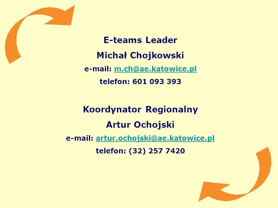 E-teams Leader Michał Chojkowski Koordynator Regionalny Artur Ochojski