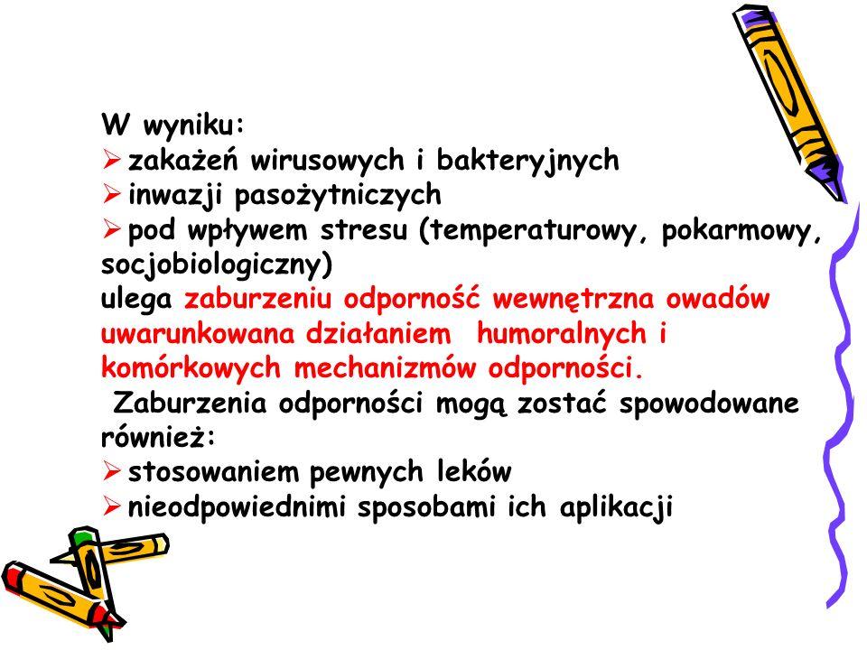 W wyniku: zakażeń wirusowych i bakteryjnych. inwazji pasożytniczych. pod wpływem stresu (temperaturowy, pokarmowy, socjobiologiczny)