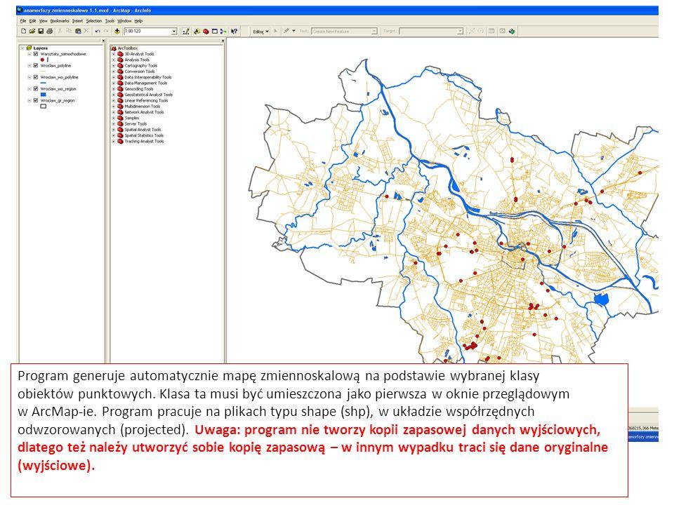 Program generuje automatycznie mapę zmiennoskalową na podstawie wybranej klasy