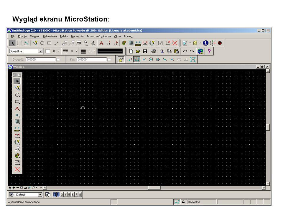 Wygląd ekranu MicroStation: