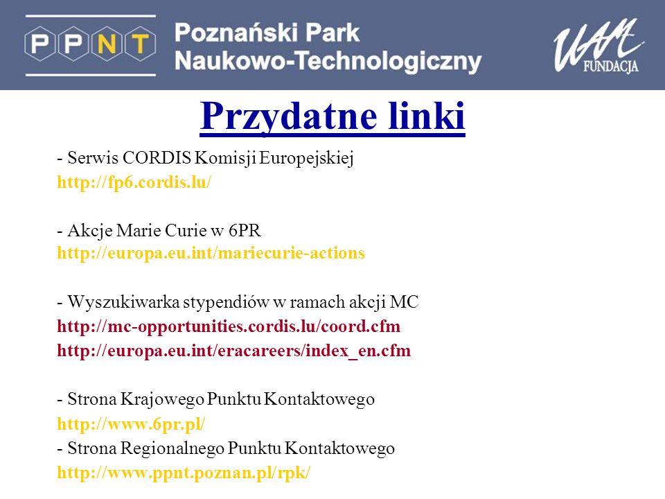 Przydatne linki - Serwis CORDIS Komisji Europejskiej