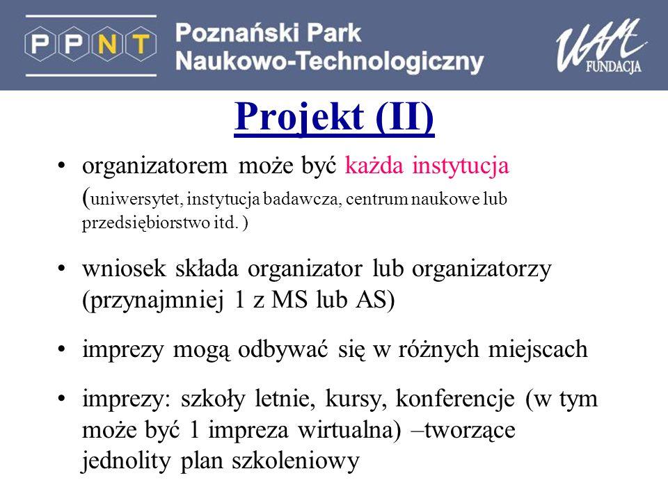 Projekt (II) organizatorem może być każda instytucja (uniwersytet, instytucja badawcza, centrum naukowe lub przedsiębiorstwo itd. )