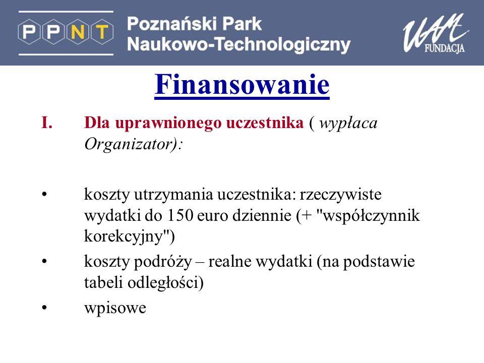 Finansowanie Dla uprawnionego uczestnika ( wypłaca Organizator):