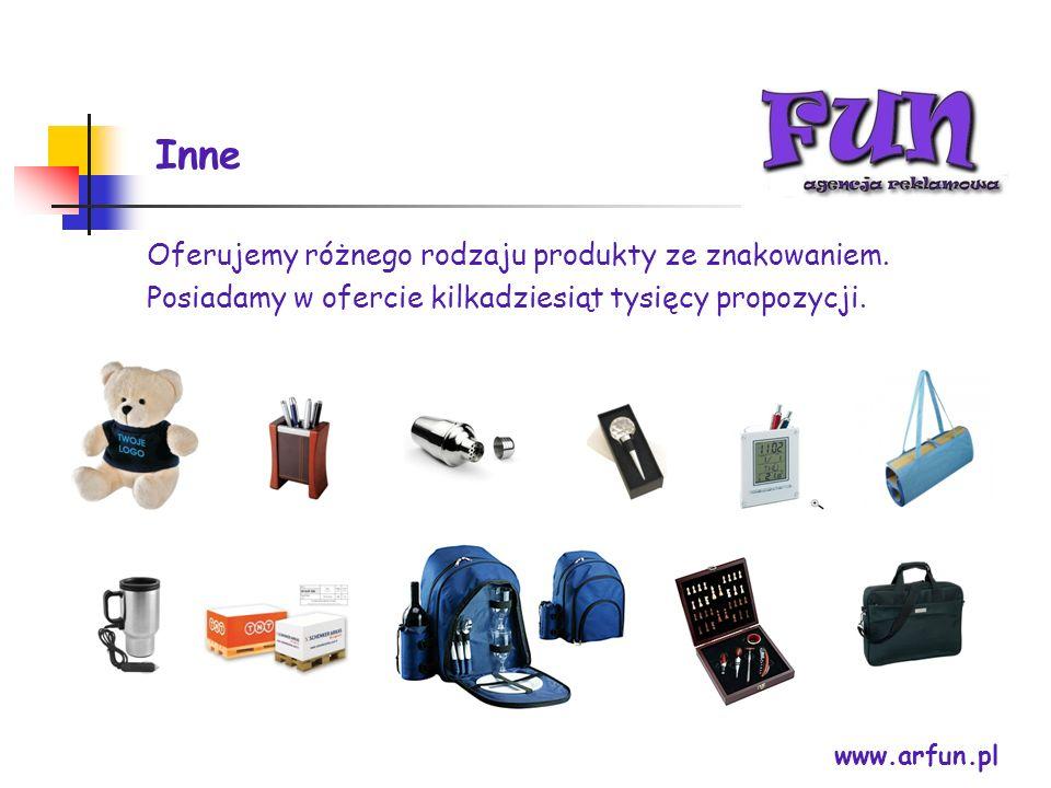 Inne Oferujemy różnego rodzaju produkty ze znakowaniem.
