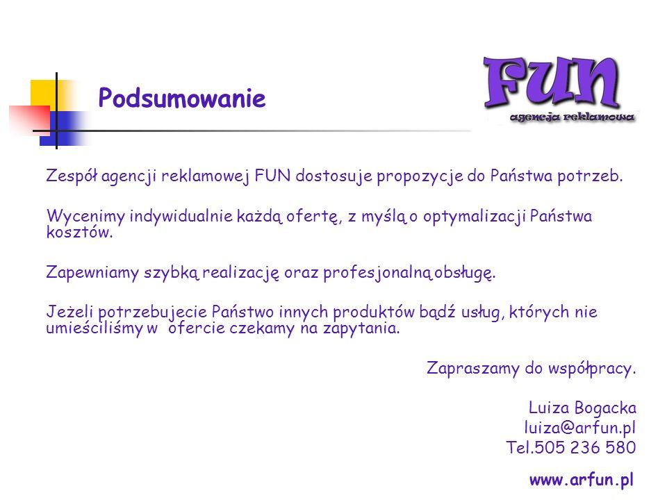 Podsumowanie Zespół agencji reklamowej FUN dostosuje propozycje do Państwa potrzeb.