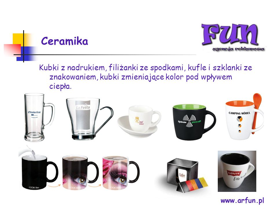 Ceramika Kubki z nadrukiem, filiżanki ze spodkami, kufle i szklanki ze znakowaniem, kubki zmieniające kolor pod wpływem ciepła.