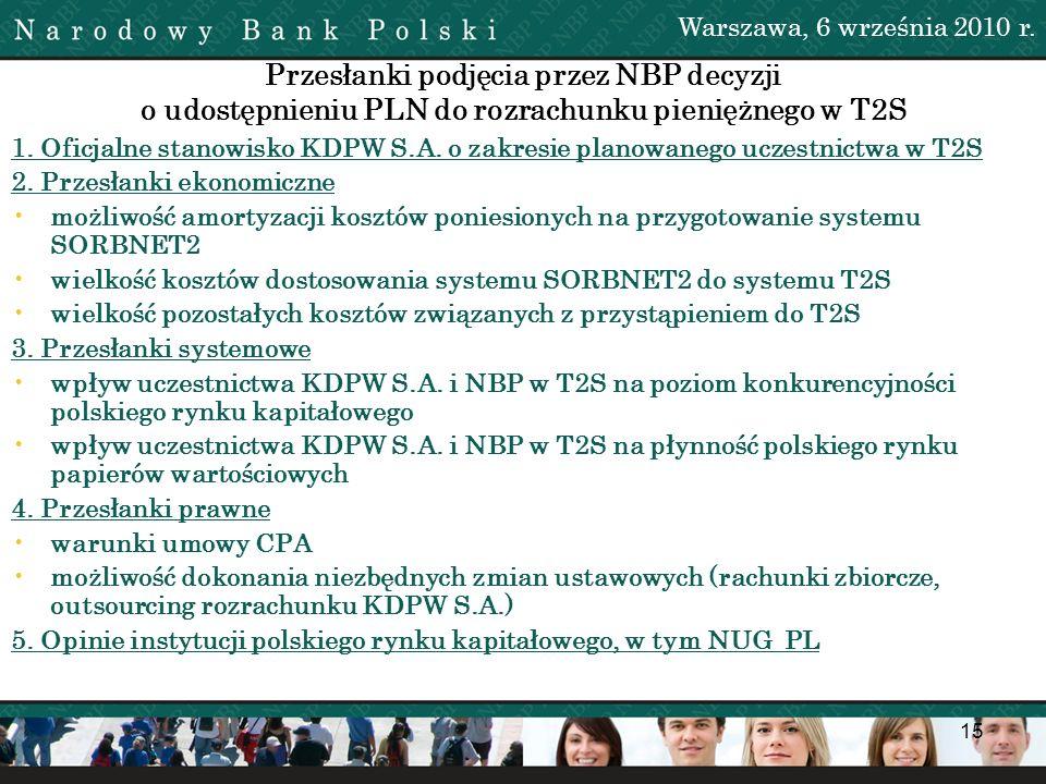 Warszawa, 6 września 2010 r. Przesłanki podjęcia przez NBP decyzji o udostępnieniu PLN do rozrachunku pieniężnego w T2S.