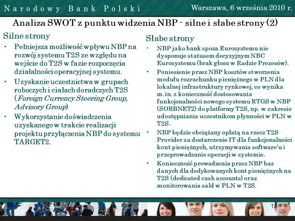 Analiza SWOT z punktu widzenia NBP - silne i słabe strony (2)