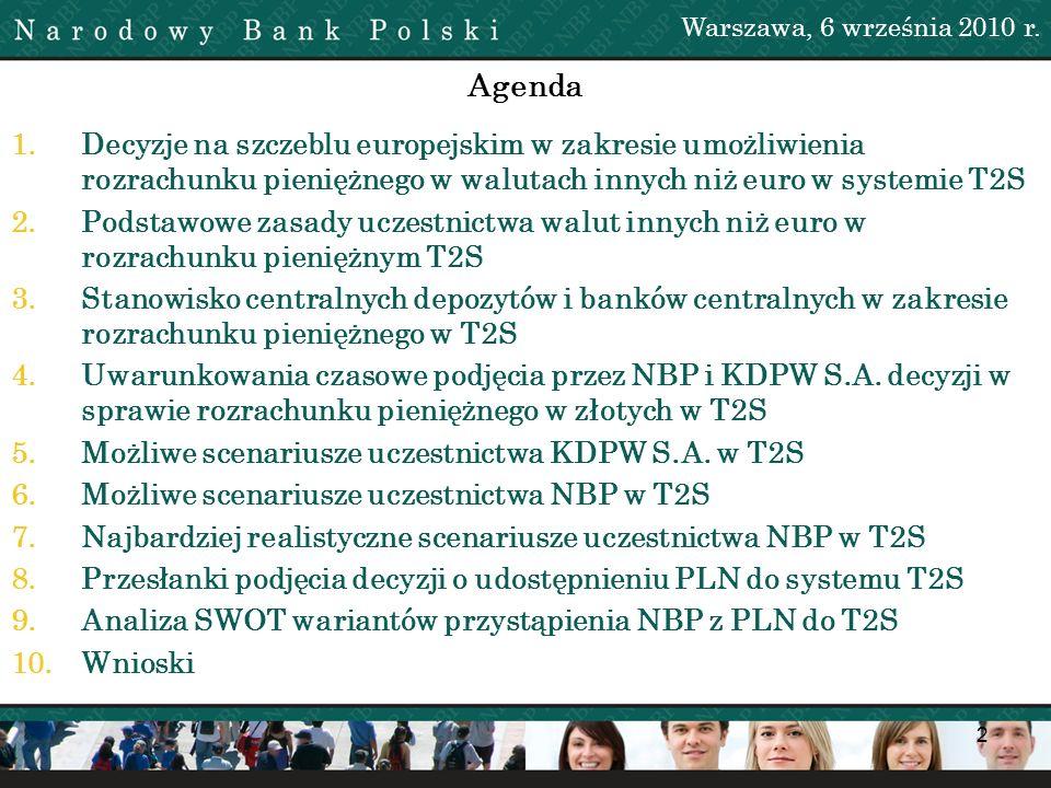 Warszawa, 6 września 2010 r. Agenda.