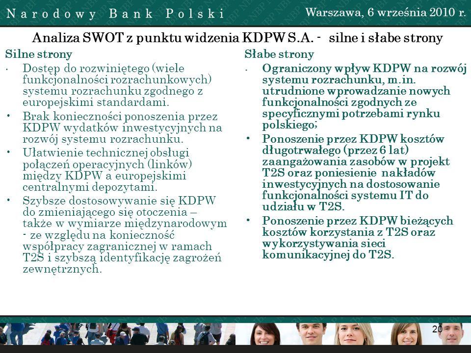 Analiza SWOT z punktu widzenia KDPW S.A. - silne i słabe strony