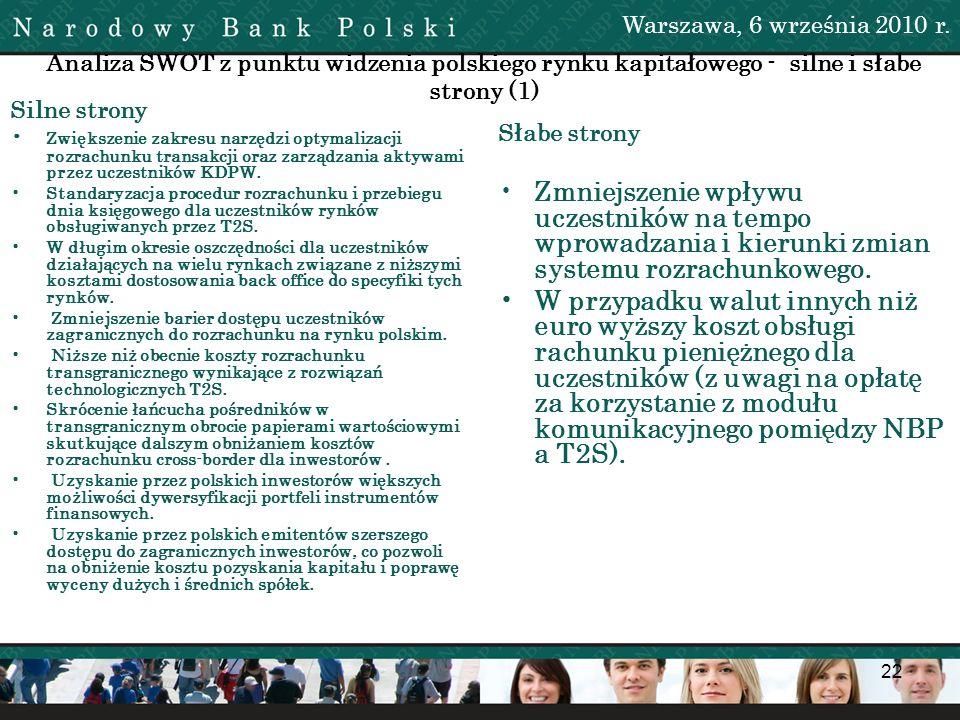 Warszawa, 6 września 2010 r. Analiza SWOT z punktu widzenia polskiego rynku kapitałowego - silne i słabe strony (1)