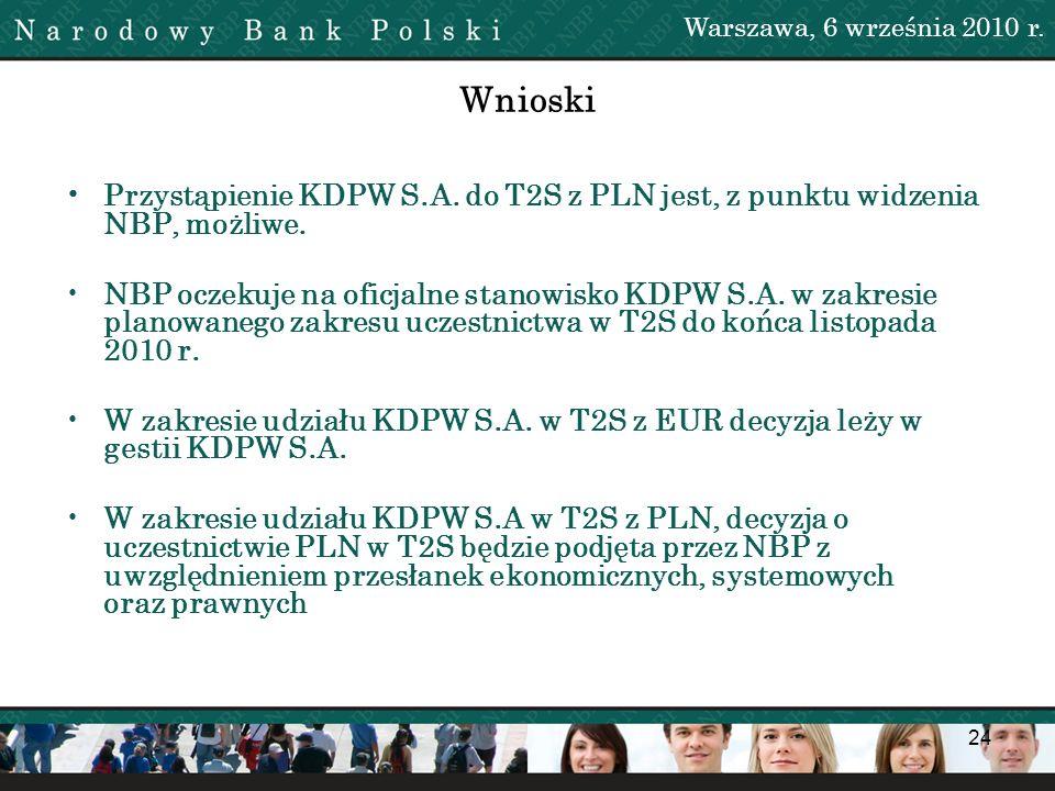 Warszawa, 6 września 2010 r. Wnioski. • Przystąpienie KDPW S.A. do T2S z PLN jest, z punktu widzenia NBP, możliwe.
