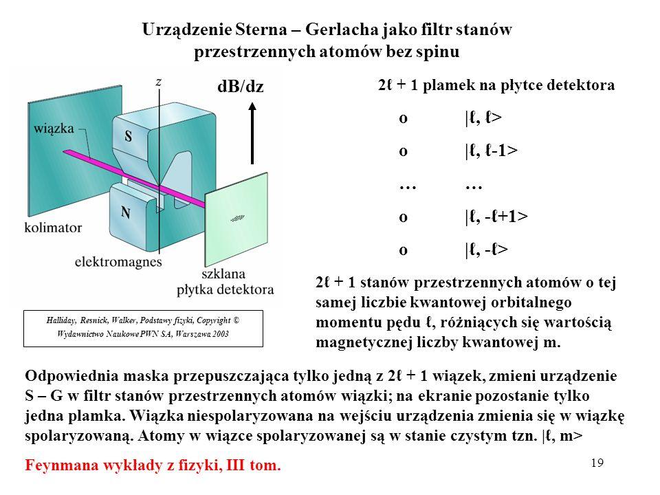 Urządzenie Sterna – Gerlacha jako filtr stanów przestrzennych atomów bez spinu