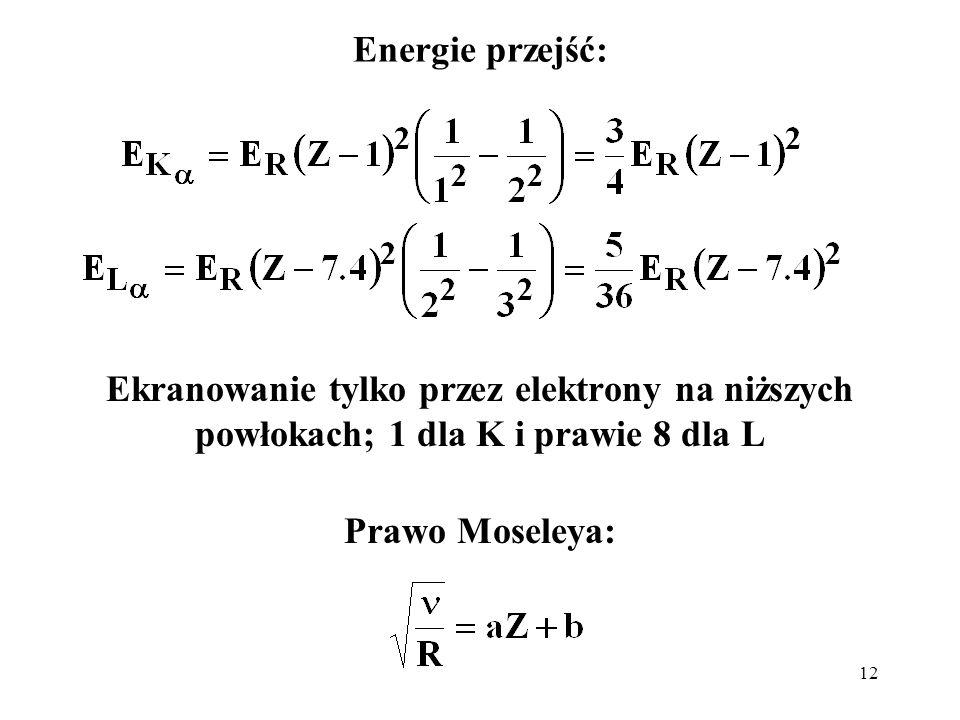 Energie przejść: Ekranowanie tylko przez elektrony na niższych powłokach; 1 dla K i prawie 8 dla L.