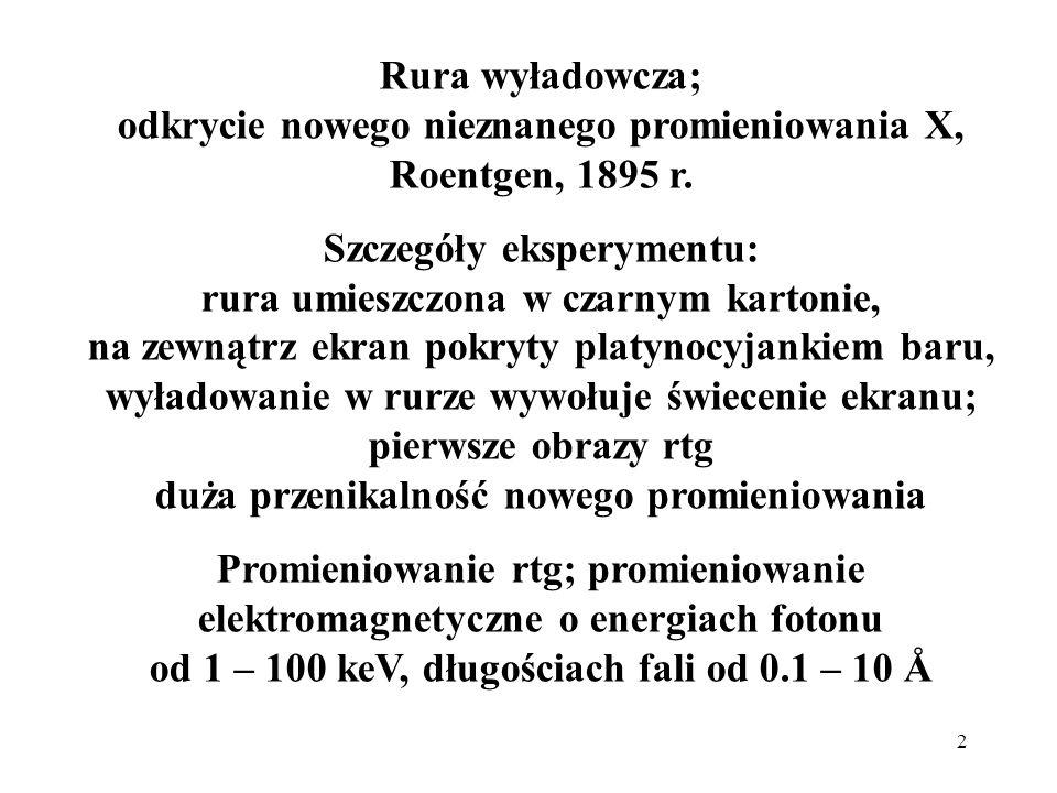Rura wyładowcza; odkrycie nowego nieznanego promieniowania X, Roentgen, 1895 r.