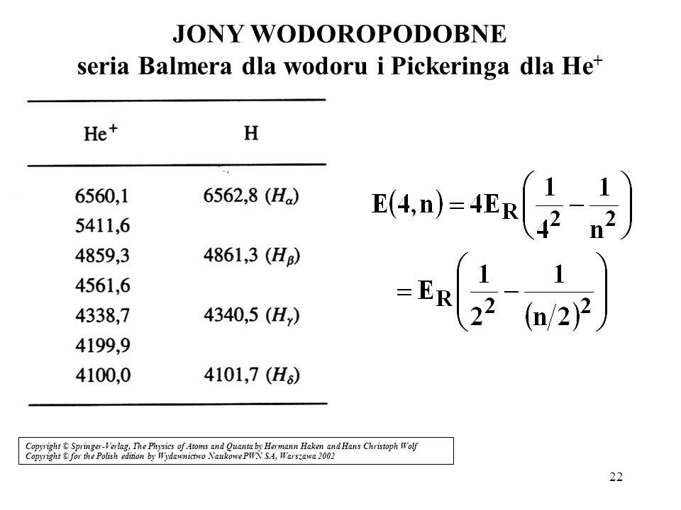 JONY WODOROPODOBNE seria Balmera dla wodoru i Pickeringa dla He+