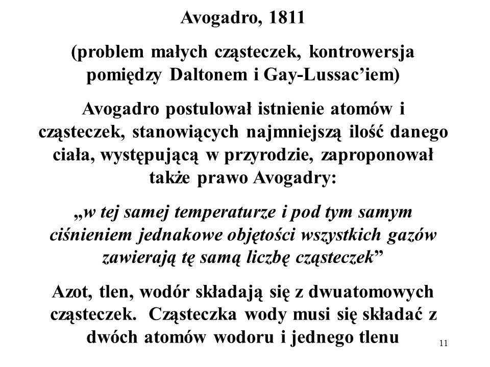 Avogadro, 1811 (problem małych cząsteczek, kontrowersja pomiędzy Daltonem i Gay-Lussac'iem)