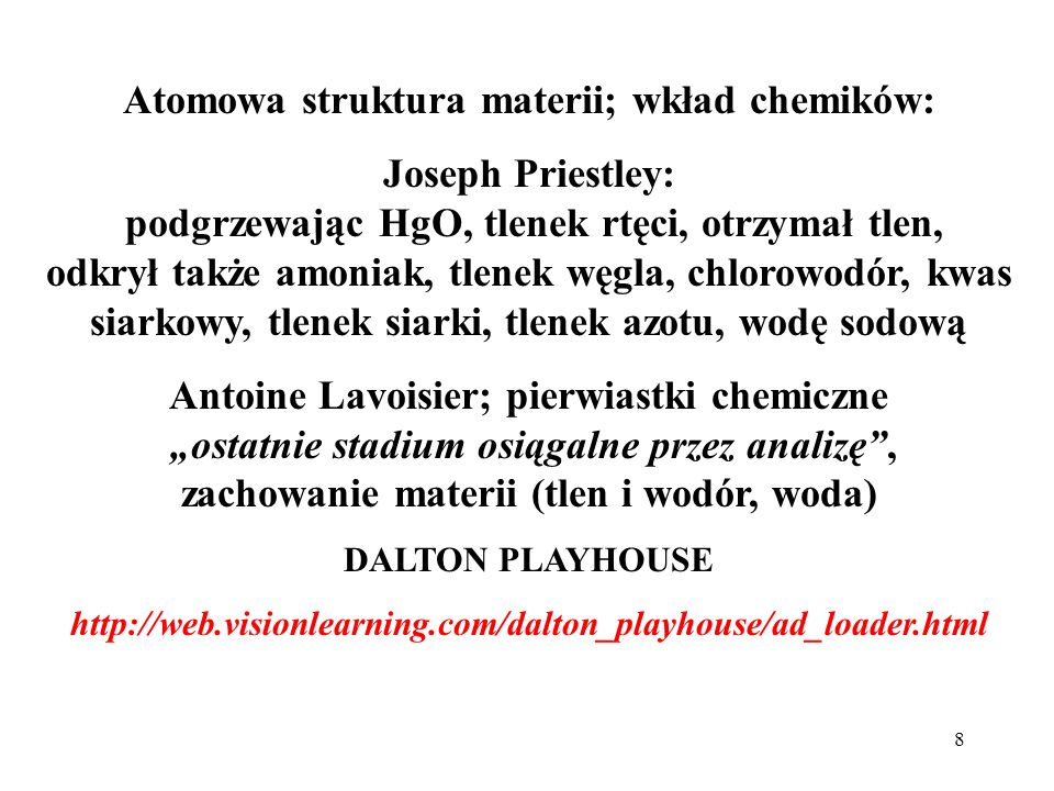 Atomowa struktura materii; wkład chemików: