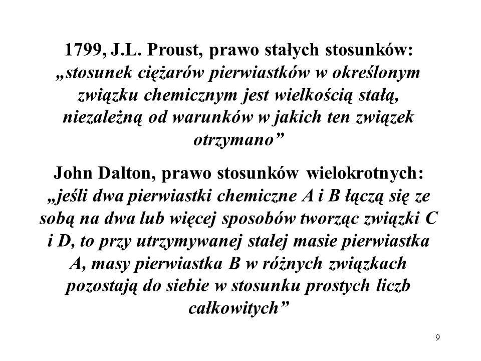 """1799, J.L. Proust, prawo stałych stosunków: """"stosunek ciężarów pierwiastków w określonym związku chemicznym jest wielkością stałą, niezależną od warunków w jakich ten związek otrzymano"""