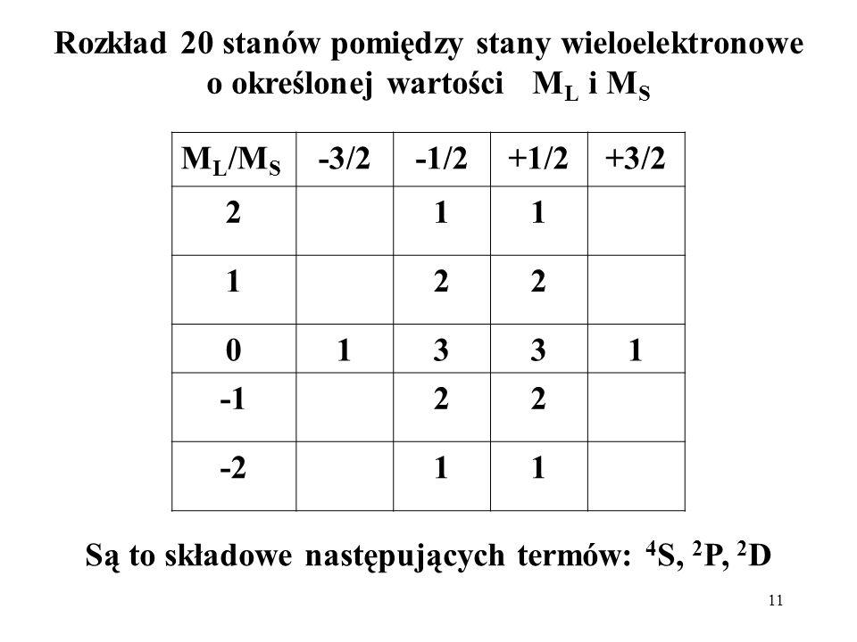 Są to składowe następujących termów: 4S, 2P, 2D