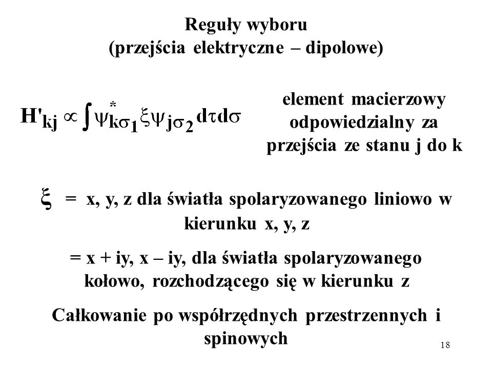 ξ = x, y, z dla światła spolaryzowanego liniowo w kierunku x, y, z