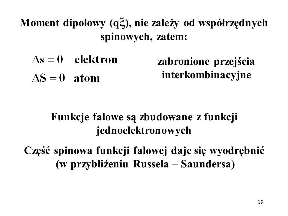 Moment dipolowy (qξ), nie zależy od współrzędnych spinowych, zatem: