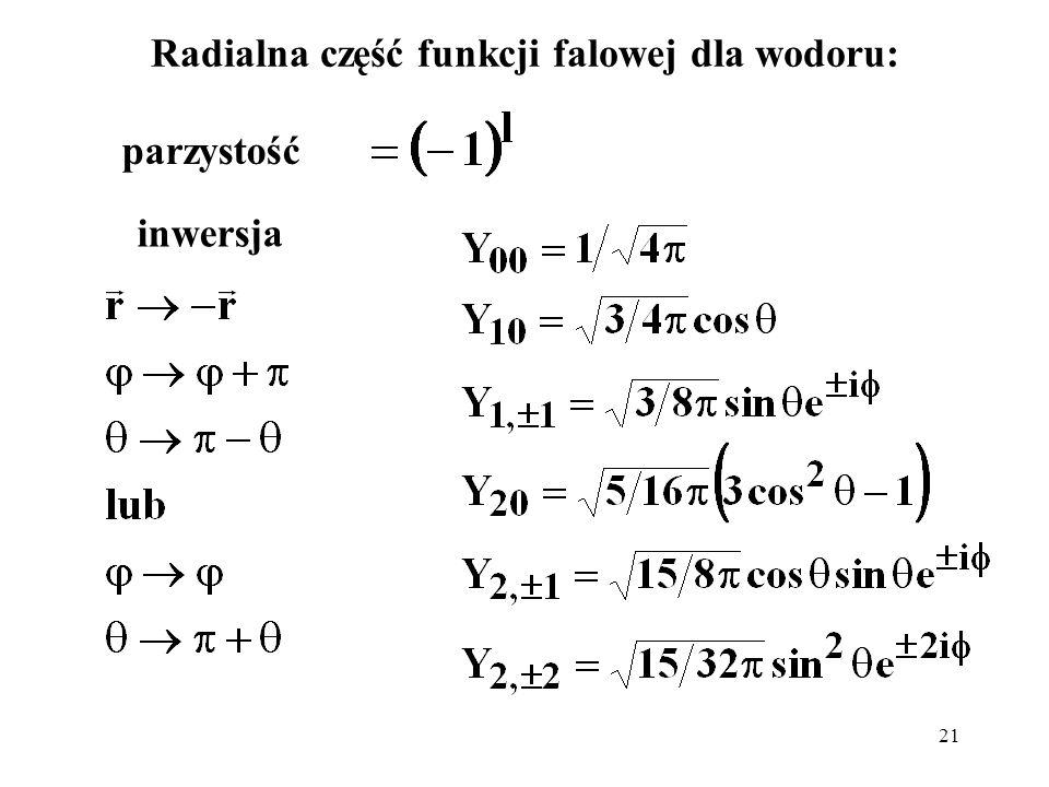 Radialna część funkcji falowej dla wodoru: