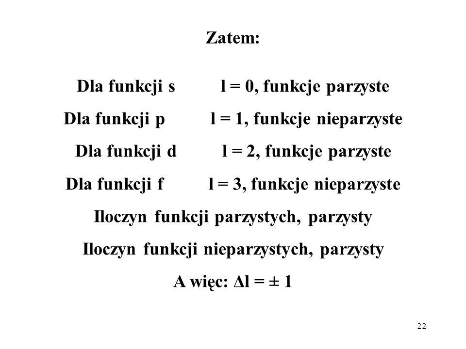 Dla funkcji s l = 0, funkcje parzyste