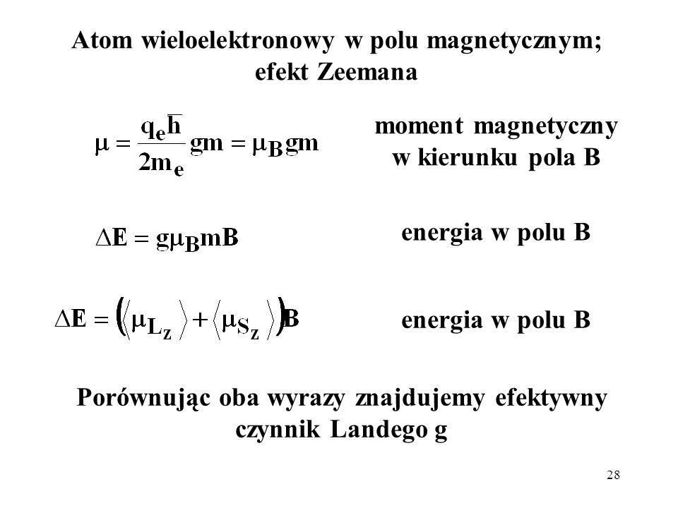 Atom wieloelektronowy w polu magnetycznym; efekt Zeemana