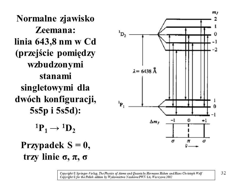 Przypadek S = 0, trzy linie σ, π, σ