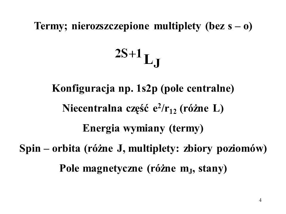 Termy; nierozszczepione multiplety (bez s – o)