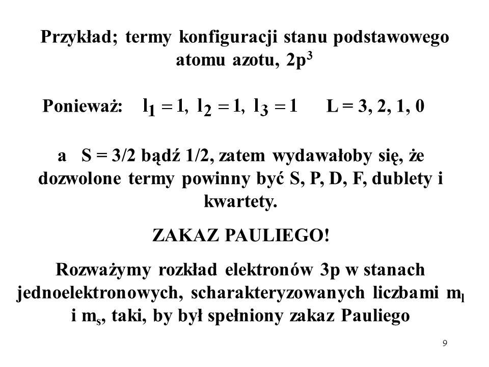 Przykład; termy konfiguracji stanu podstawowego atomu azotu, 2p3