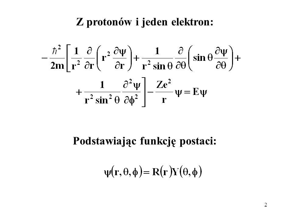 Z protonów i jeden elektron: Podstawiając funkcję postaci: